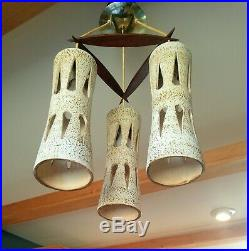 Mid Century Teak 3 Ceramic Pendant Chandelier Vintage Hanging Light Fixture Lamp