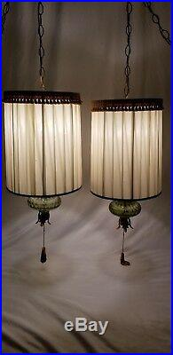 Mid-Century green glass hanging swag lamp light pair Hollywood regency vintage