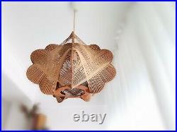 Mid-century modern wood wooden hanging lamp light chandelier 60s France vintage