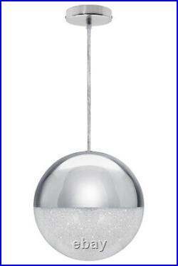 Modern LED CHROME SHIMMER Glass Ball Pendant Shade Hanging Ceiling Globe M0099