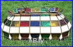 Multi Color Stained Glass Hanging Pool Table Light Vintage
