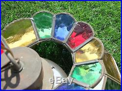 Multi-Color Stained Glass Hanging POOL TABLE LIGHT, Vintage Bar Lamp Rainbow