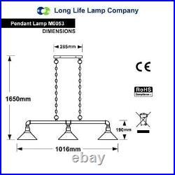 NEW Industrial Hanging Ceiling Pendant 3 Lamp Black Pipe Light Vintage Downlight