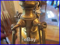 Outstanding-vintage-unusual-brass-large Slag Glass-hanging Lamp-free Shipping
