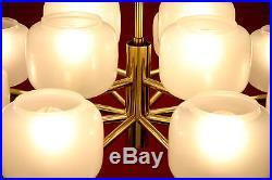 Old Mid-Century Modern Chandelier Pendant Hanging Lamp Gold Milk-Glass Vintage