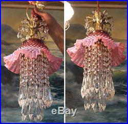Old Vintage Fenton Cranberry Jelly Fish Glass hanging brass SWAG Lamp chandelier
