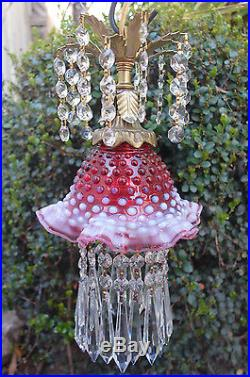 Old Vintage Fenton cranberry Jelly Fish Glass hanging brass TOLE Lamp cap