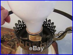 Old Vintage Hand Painted Milk Glass Hanging Hurricane light fixture lamp Flowers