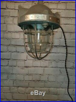 Old Vintage Industrial Metal Caged Ceiling Hanging Factory Explosion Light Lamp