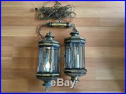Old Vtg Brass Plate Hanging Beveled Glass Faux Candle Electric Light Lamp Pair