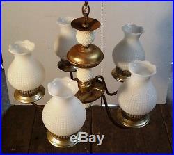 Old Vtg Clothwire Hobnail Milk Glass Globe 5 Fixture Hanging Cieling Lamp Light
