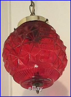 Old Vtg Retro Swag Hanging Red Light Glass Lamp Globe Ceiling Fixture Chain