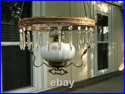 Original Victorian Hanging Parlor Lamp, Library, Oil, GWTW, Antique, Prisms
