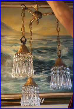 PAIR 3lite Vintage hanging Swag lamp chandelier tole brass Deco stl Lily crystal