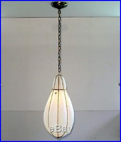PAIR BIG Vintage Murano Italy Mid Century Caged Hanging Swag Pendant Lamp Light