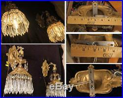 PAIR Sconce Brass Spelter POND Lily vintage lamp hanging Beaded lantern filigree