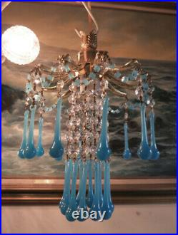 PALM SWAG Lamp Brass chandelier Vintage Opaline Blue glass beaded crystal prisms