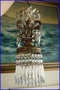 Pair 15 tall Vintage baroque hanging Spelter brass plt Lamp Crystal Chandelier