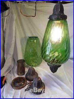 Pair 2 Vintage Green Glass Swag Hanging Lamps Mid Century Teardrop