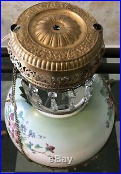 Pair Of Vintage Hanging Parlor Oil Lamp Chandelier Light Fixture Floral
