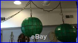 Pair Vintage Capiz Shell Hanging Swag Lamp Pair Mid Century Modern