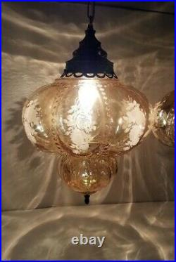 Pair Vtg Hanging Lamps Smoky Glass Globe with Roses Swag Light Rewired