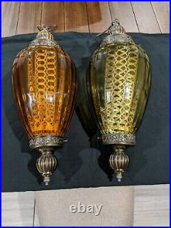 Pair Vtg Mid Century Retro Hanging Swag Light/Lamp Amber and Green Glass Design