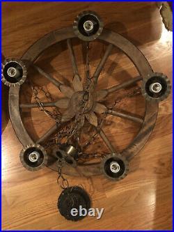 Pair of Antique 5 Light Wagon Wheel Hanging Chandelier Celing Lamp Light Vintage