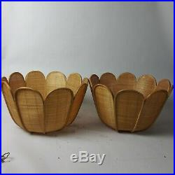 Pair of Vintage Hanging Light Swag Lamps Wicker Rattan Mid Century Lights
