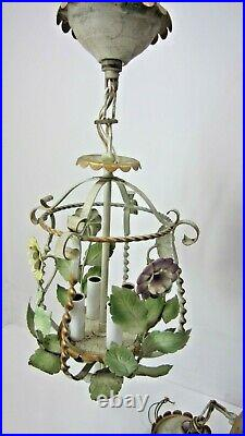 Pair of Vintage Tole Style Metal Floral Hanging Lamps