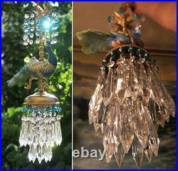 Peacock Bird jeweled porcelain Carousel Lamp SWAG plug Chandelier Vintage beads