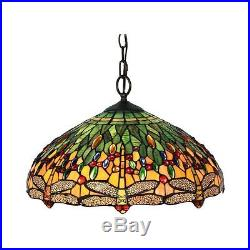 Pendant Hanging Lamp Ceiling Glass Lights Vintage Antique Tiffany Dragonfly 18