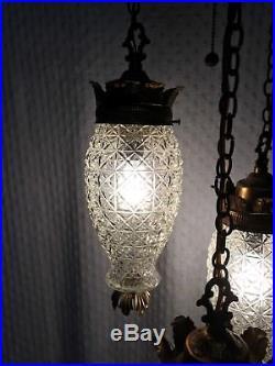 Pineapple glass swag lamp 3 tier vintage mid century hanging pendant light