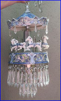 Porcelain Carousel Horse Lamp SWAG Chandelier Vintage Merry Go Round Dragonfly