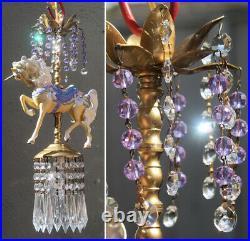 Porcelain Carousel Unicorn Lamp SWAG Chandelier Vintage Horse Beads Crystal Rose
