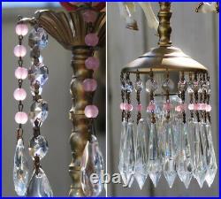 Porcelain Pony Horse Carousel Lamp swag Chandelier Vintage Crystal Pink Rose