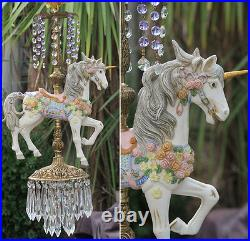 Porcelain Violet UNICORN Horse Carousel swag Lamp brass Chandelier Vintage roses