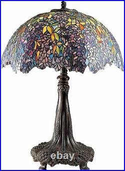 QUOIZEL LABURNUM STAINED GLASS TABLE LAMP WISTERIA vintage tiffany craftsman