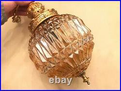 RARE Antique BEAUTIFUL Hanging Chain Lamp Big Crystal Carnival Glass Pendant