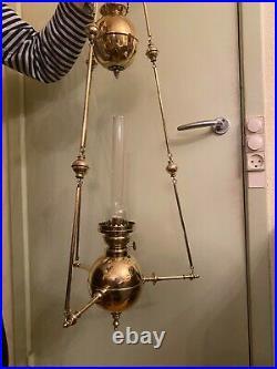 RARE Antique BEAUTIFUL Hanging Chain Lamp Crystal Glass Pendant Pendel Lamp