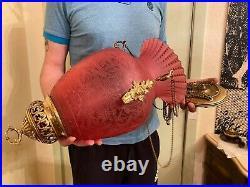 RARE Art Nouveau German Antique BEAUTIFUL Hanging Chain Lamp Big Red Matte Glass