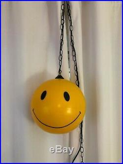 RARE Emoji Vintage Retro 60's Smiley Face Hanging Lamp