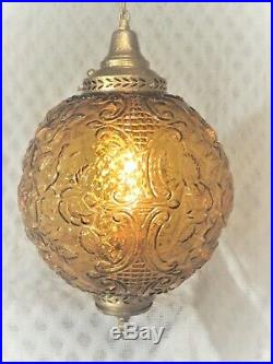 RARE Vintage Amber Glass Globe Hanging Chain Swag Lamp Light Floral Design