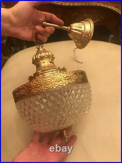 RARE Vintage BEAUTIFUL Hanging Chain Lamp Crystal Glass Pendant Pendel Lamp