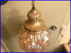 RARE Vintage BEAUTIFUL Hanging Chain Lamp w. Big AMAZING Crystal Pendant Glass