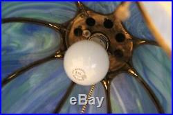 RARE! Vintage Blue Slag Glass Tulip Hanging Swag Lamp Light Chandelier Ceiling