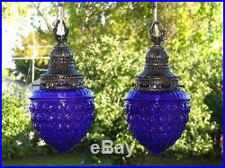 RESTORED Vintage PURPLE Glass Shades & Antique Brass Hanging Swag Lamp Lights