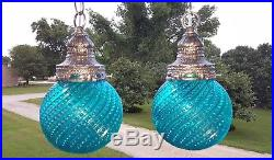 RESTORED Vintage Turquoise Blue Glass Shades & Nickel Hanging Swag Lamp Lights