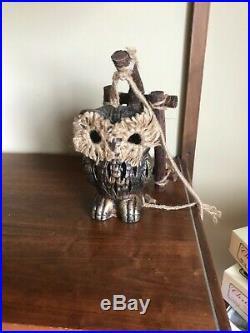 Rare MCM Vintage OWL Swag Hanging pendant Lamp. Woodland TIKI Bar Light electric
