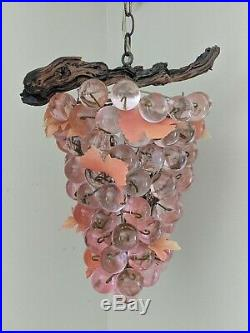 Rare Pink 60's Vintage 17 Lucite Acrylic Cluster Grapes Hanging Swag Lamp